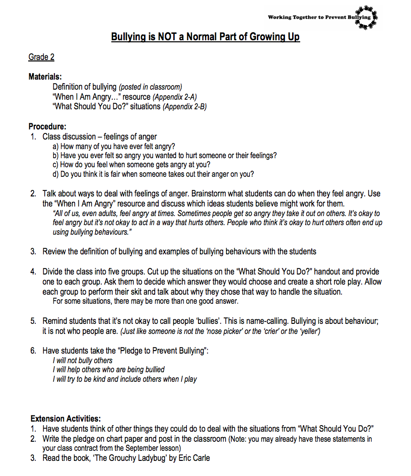 Bullying is NOT a Normal Part of Growing Up—2nd Grade Lesson