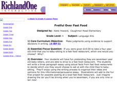 Fretful Over Fast Food Lesson Plan