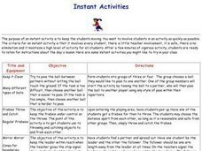 Cooperative Games - Instant Activities Lesson Plan