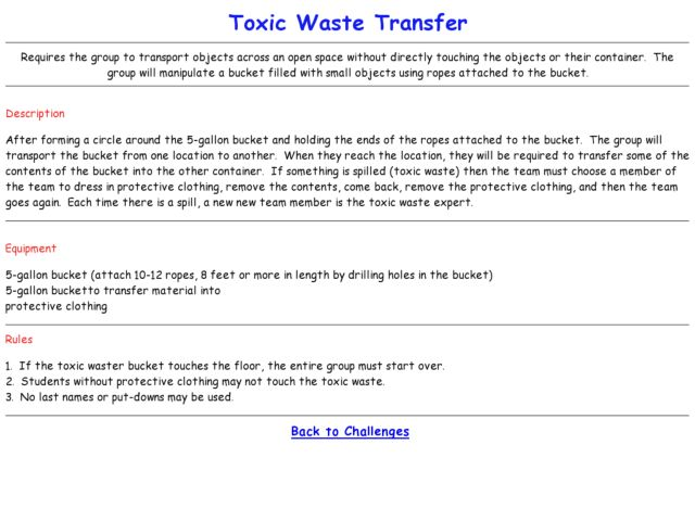 Ropes Course Challenges - Toxic Waste Transfer Lesson Plan