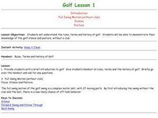 Golf - Lesson 1 - Intro, Full Swing, Stance, Posture Lesson Plan