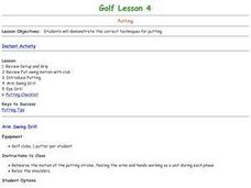 Golf - Lesson 4 - Putting Lesson Plan