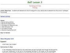 Golf - Lesson 3 - Full Swing, Pitching Lesson Plan