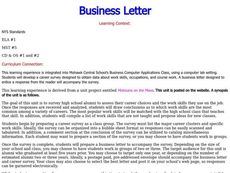 Business Letter Lesson Plan
