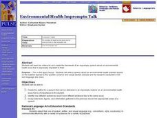 Environmental Health Impromptu Talk Lesson Plan
