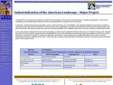 Industrialization of the American Landscape - Major Project Lesson Plan