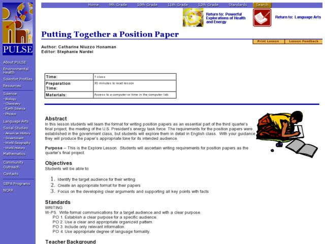 Language Arts: Putting Together a Position Paper Lesson Plan