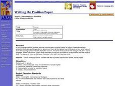 Writing the Position Paper Lesson Plan