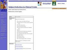 Subject Selection in Clinical Trials Lesson Plan