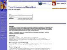 Topic Sentences and Transitions Lesson Plan