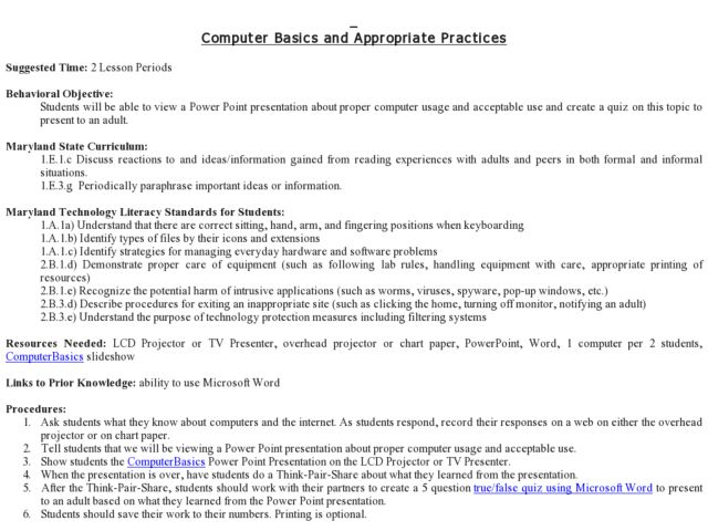 Computer Basics and Appropriate Use 2nd - 8th Grade Lesson Plan ...