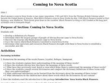 Coming to Nova Scotia Lesson Plan
