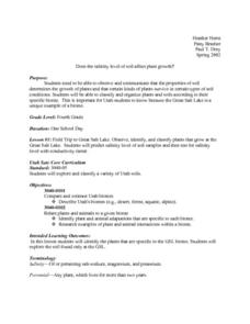 Salinity Of Soil Lesson Plan
