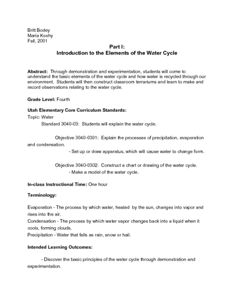 Introduction to the Elements of the Water Cycle 4th Grade Lesson ...