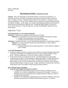 The Chemical Nature of Water Lesson Plan