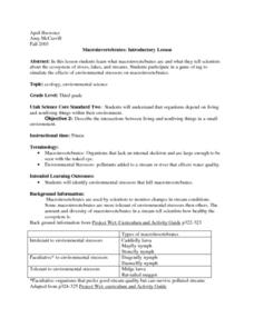 Introduction to Macroinvertebrates Lesson Plan