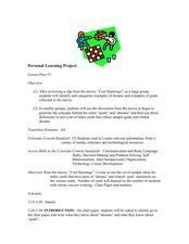 Personal Learning Project Lesson Plan