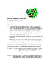 Personal Learning Profile Project Lesson Plan