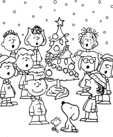 charlie brown christmas coloring pages with the peanuts gang worksheet