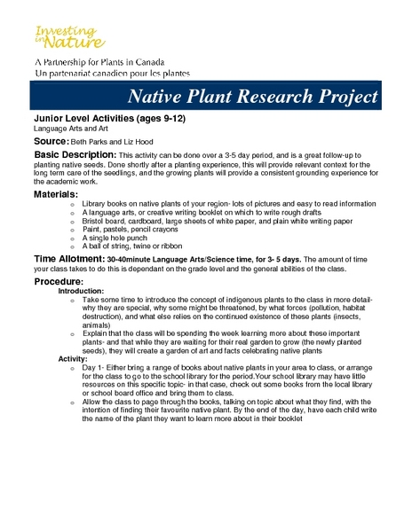 Native Plant Research Project Activities & Project
