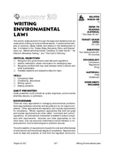 Writing Environmental Laws Refer To Reading Material Lesson Plan