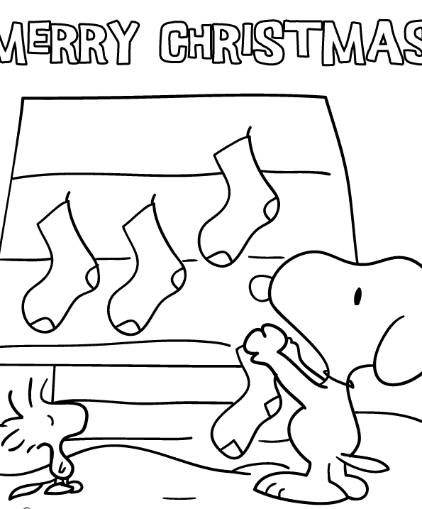 Snoopy and Woodstock Christmas Coloring Page Worksheet