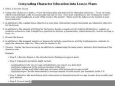 Integrating Character Education into Lesson Plans Lesson Plan