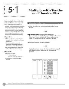 Multiply With Tenths and Hundredths Lesson Plan