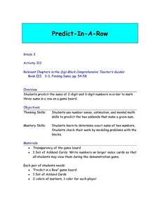 Predict-In-A-Row Lesson Plan