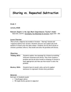 Sharing Versus Repeated Subtraction Lesson Plan