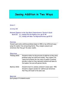 Seeing Addition in Two Ways Lesson Plan