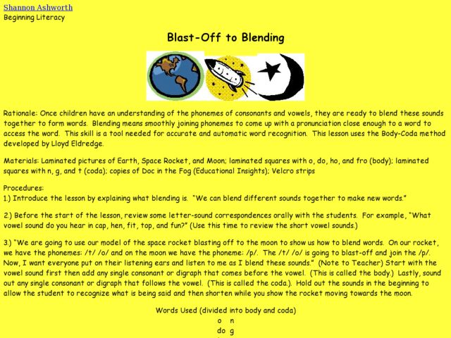 Blast-Off to Blending Lesson Plan