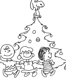 Charlie Brown Christmas Tree Coloring Page with Snoopy, Lucy and Linus Worksheet