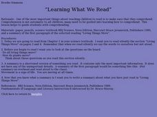 Learning What We Read Lesson Plan
