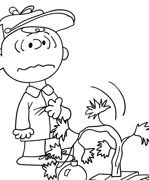Charlie Brown and His Drooping Christmas Tree Coloring
