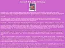 Silence for Solo Reading Lesson Plan