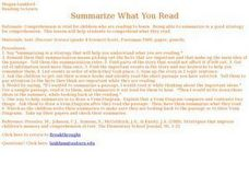 Summarize What You Read Lesson Plan