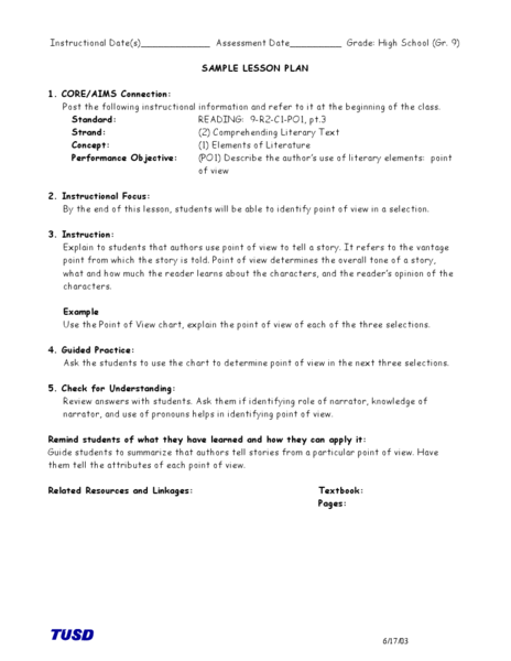 Comprehending Literary Text Identifying Point Of View Lesson Plan