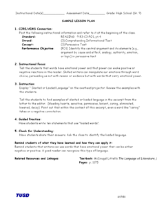 Persuasive Text: Slanted Language Lesson Plan