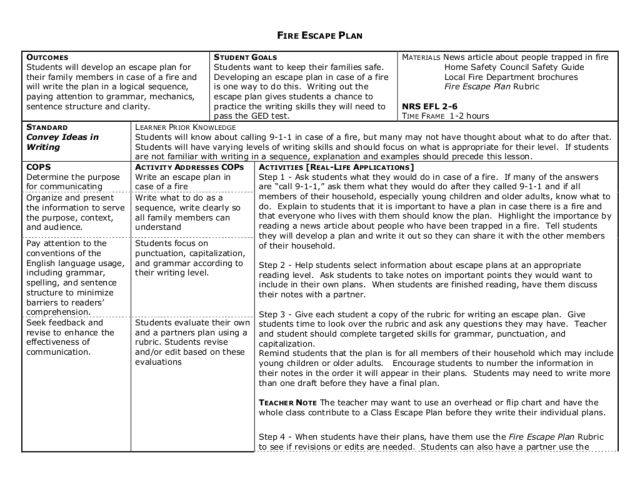 Fire Escape Plan Lesson Plan