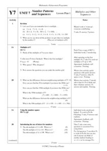 Number Patterns and Sequences Lesson Plan
