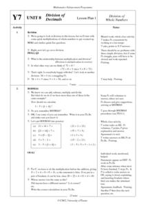 Division of Decimals Lesson Plan