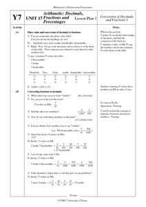 Arithmetic: Decimals, Fractions and Percentages Lesson Plan