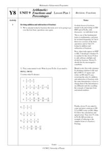 Arithmetic: Fractions and Percentages Lesson Plan