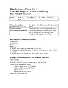 Beginning of World War II Lesson Plan