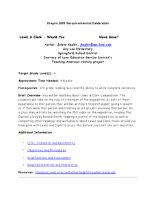 Lewis and Clark Expedition Lesson Plan