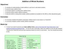 Addition of Whole Numbers Lesson Plan