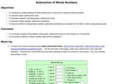 Subtraction of Whole Numbers Lesson Plan