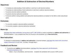 Addition & Subtraction of Decimal Numbers Lesson Plan for 6th Grade ...