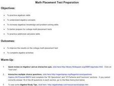 Math Placement Test Preparation Lesson Plan